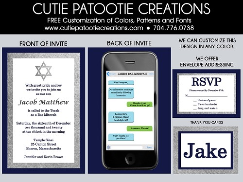 Cell Phone Bar Mitzvah Invitation - Custom Colors Available