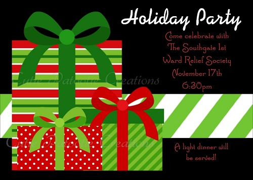 Christmas Holiday Party Invitations in Green - Red and Black - Printable or Printed