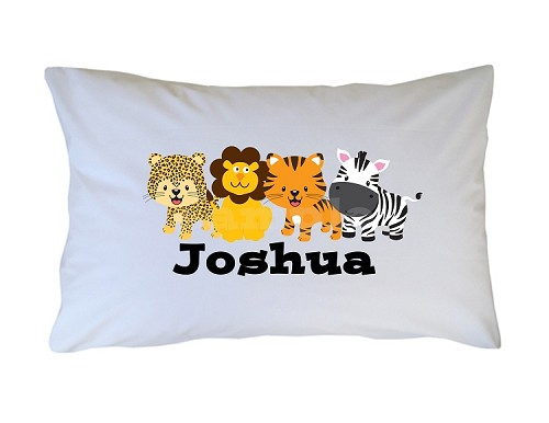 Personalized Jungle Animals Pillow Case for Kids, Adults and Toddler