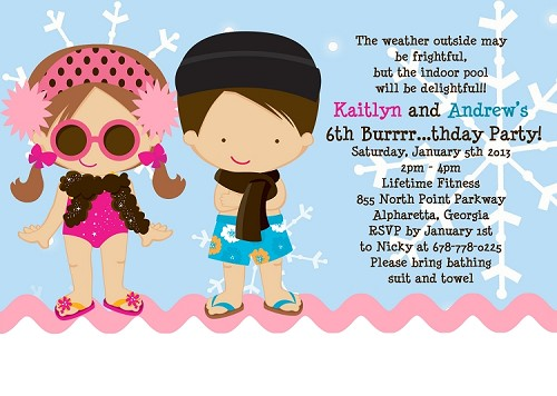 Twins or Siblings Winter Pool Party Invitations - Printable or Printed