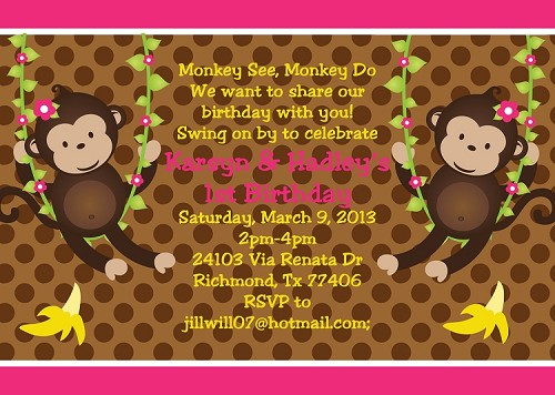 Twin Girls Monkey Birthday Invitations | Animal Invitations - Printable or Printed