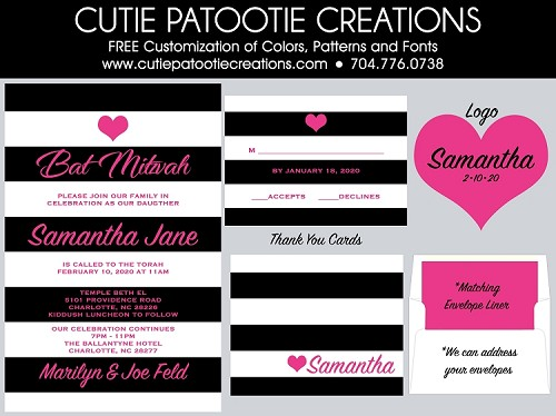 Bat Mitzvah Invitations - Black, White and Hot Pink - Custom Colors Available