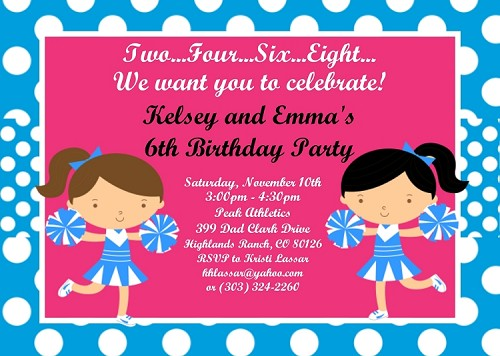 Cheerleader Birthday Invitations for Twins or Siblings
