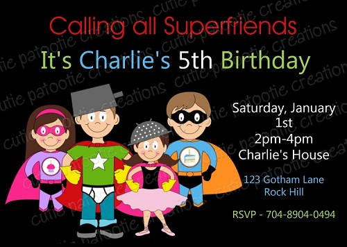 Super Friends Birthday Party Invitations