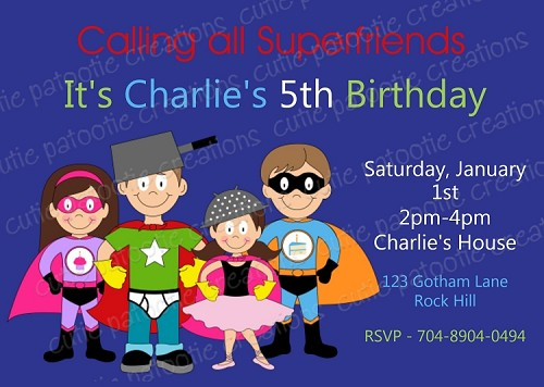 Super Friends Birthday Invitations for Twins or Siblings