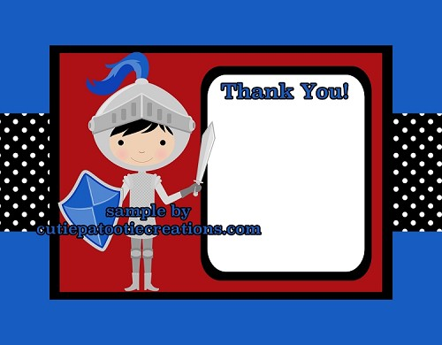 Brave Knight Thank You Cards - Printable or Printed