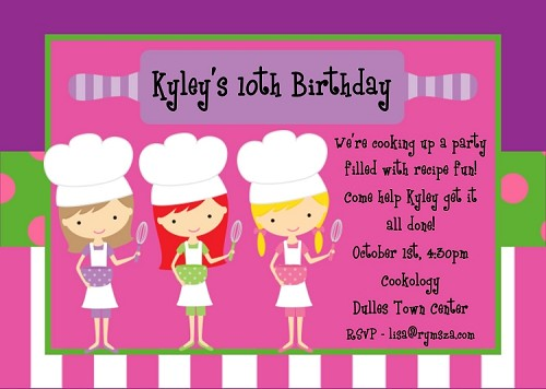 Little Chef's Cooking Birthday Invitations