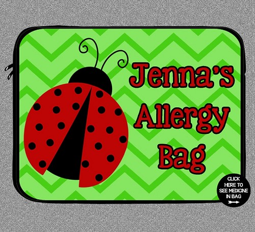 Personalized Ladybug Allergy Medicine Bag - EpiPen, Auvi-Q