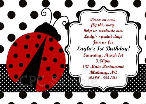 Ladybug Themed Birthday Invitations