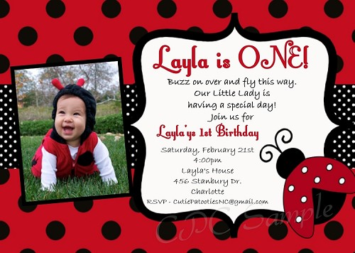 Red Ladybug 1st Birthday Invitations with Photo