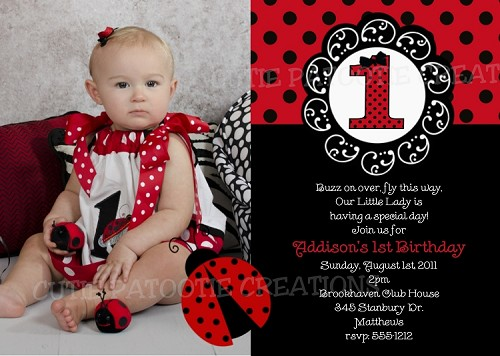 Red and Black Ladybug Birthday Invitation Photo Cards