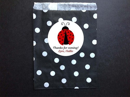 Ladybug Party Favor Bags and Personalized Stickers