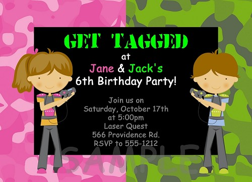 Laser Tag Invitations for Twins or Siblings
