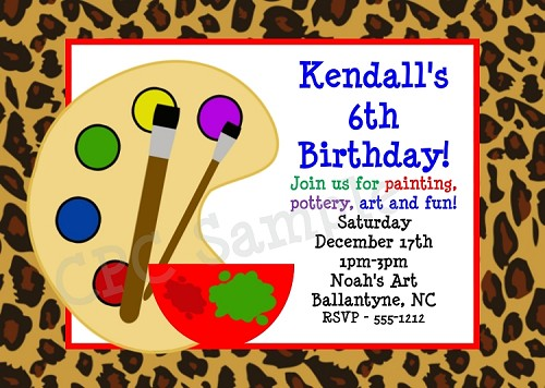 Leopard Arts and Crafts Birthday Party Invitation