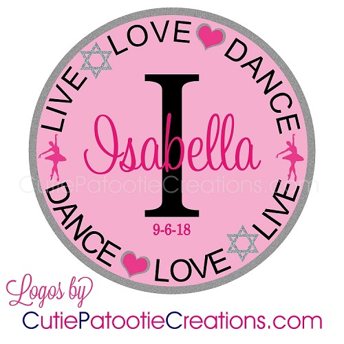 Well-known Live Love Dance Bat Mitzvah Logo with Name and Initial - Custom  WZ15