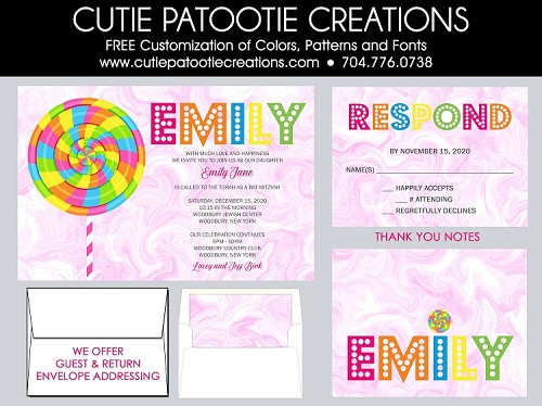 Lollipop Candy Theme Bat Mitzvah Invitation - Custom Colors Available