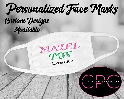 Pink and Green Mazel Tov Face Mask for Bar and Bat Mitzvah - Custom Colors Available