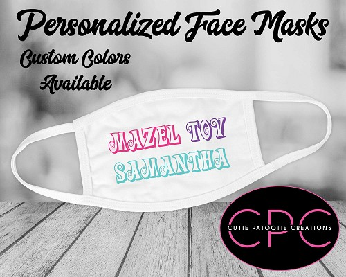 Mazel Tov Bat, Bar Mitzvah Face Masks - Custom Colors Available
