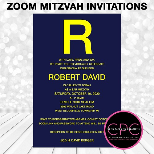 Zoom Bar Mitzvah Invitation - Navy and Yellow - Virtual Service Mitzvah Invitations