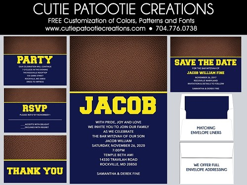 Football Team Bar Mitzvah Invitations - We can customize with your favorite Team Colors