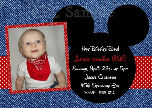 Photo Invitations with Denim Background | Mickey Mouse Invitations - Printable or Printed