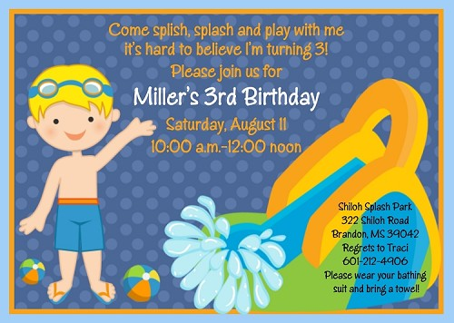 Pool Party Invitations for Boys- Printable or Printed