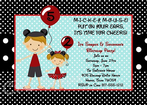 Twin or Siblings | Minnie and Mickey Mouse Birthday Invitations - Printable or Printed