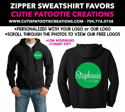 Zip Up Sweatshirt Mitzvah Party Favors - See Description for More Info