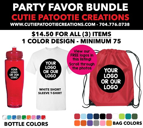 Party Favor Bundle Personalized with your 1 Color Logo for Mitzvahs, Weddings, Sweet 16 - See Description for More Info