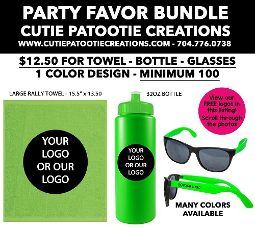 Mitzvah Party Favor Bundles - Large Rally Towel, Water Bottle and Sunglasses - MINIMUM 100