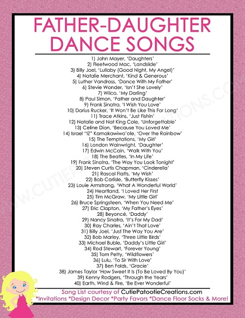 Free Printable List Of Top 40 Father Daughter Dance Songs For Bat