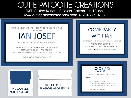 Modern Bar Mitzvah Invitations in Blue and White - Custom Colors Available