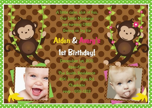 Twin or Siblings Photo Invitations | Monkey Birthday Invitations | Animal Invitations - Printable or Printed