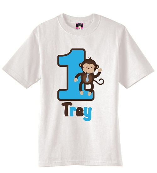Boy Monkey Birthday Party T-Shirt or Onesie - USE FOR ANY AGE
