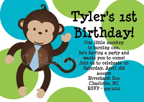 Boy Mod Monkey Invitations for Birthday Party Invitations - Printable or Printed