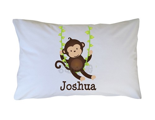 Personalized Little Monkey Pillow Case for Kids, Adults and Toddler