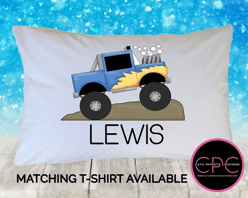Personalized Monster Truck Pillowcase