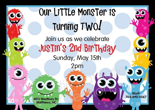 Monster Bash Birthday Invitations - Printable or Printed
