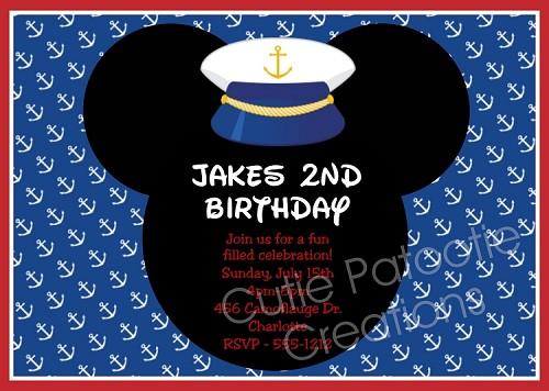 Nautical Mouse Ears Birthday Invitations, Printable or Printed