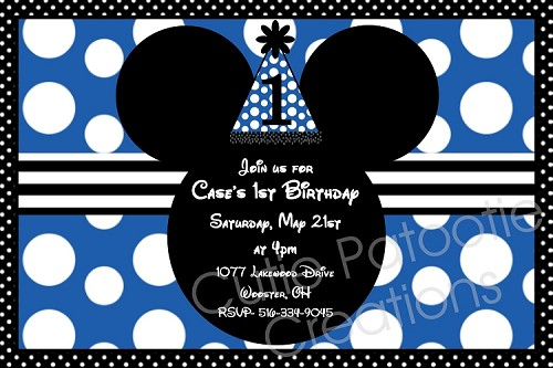 Blue and White Polka Dots | Mickey Mouse Invitations - Printable or Printed