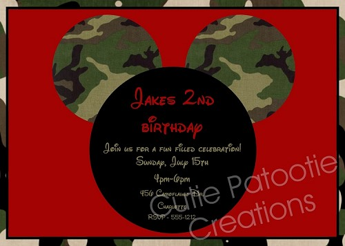 Camouflage Print | Mickey Mouse Invitation - Printable or Printed