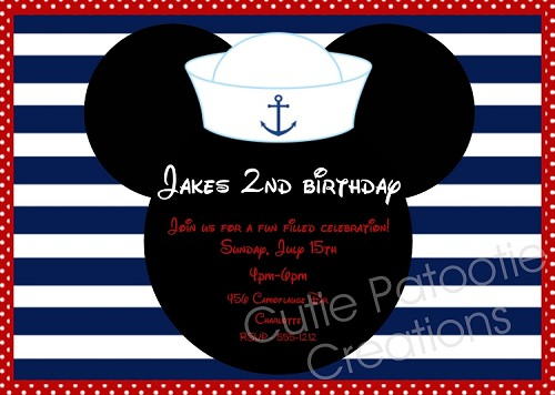 Nautical Sailor Hat Mouse Ears Invitation, Printable or Prined