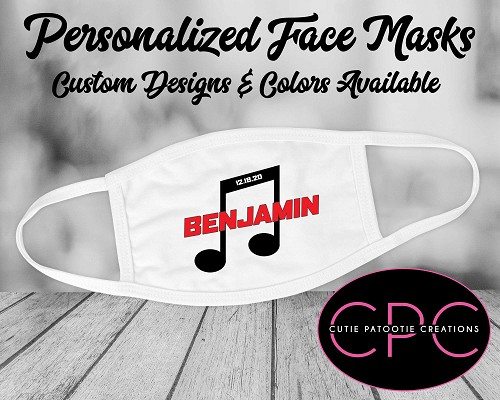 Personalized Musical Note Face Mask
