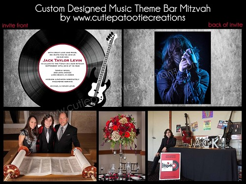 Music Themed Bar Mitzvah Invitations and Party Decorations