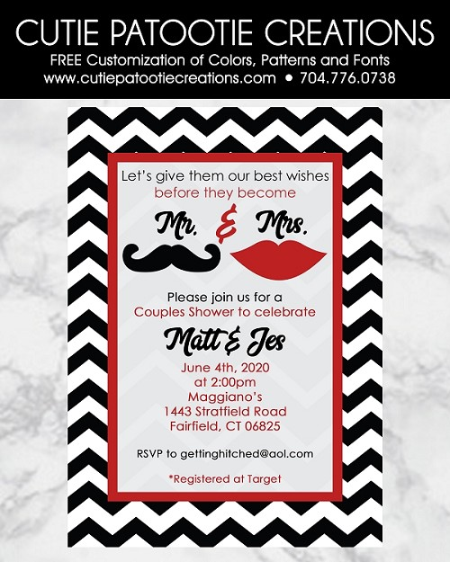 Mustache Lips Couples Wedding Shower Invitations