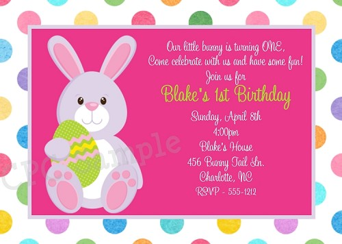 Easter Birthday Invitation in Pastel Polka Dots