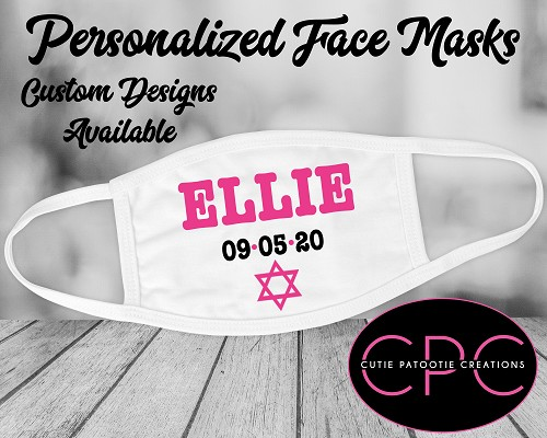 Personalized Hot Pink and Black Face Mask with Jewish Star