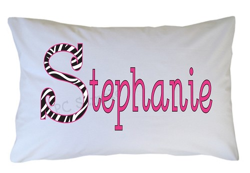 Personalized Zebra Print Initial Pillow Case for Kids, Adults and Toddler