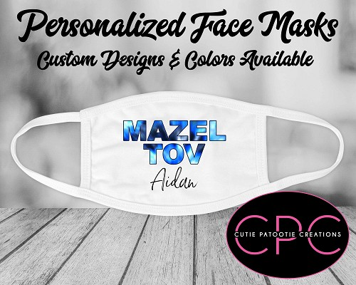 Personalized Navy Blue Tie Dye Face Mask