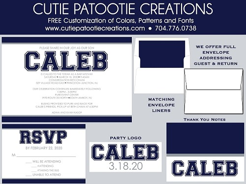 Navy Blue and Grey Bar Mitzvah Invitations - Custom Colors Available